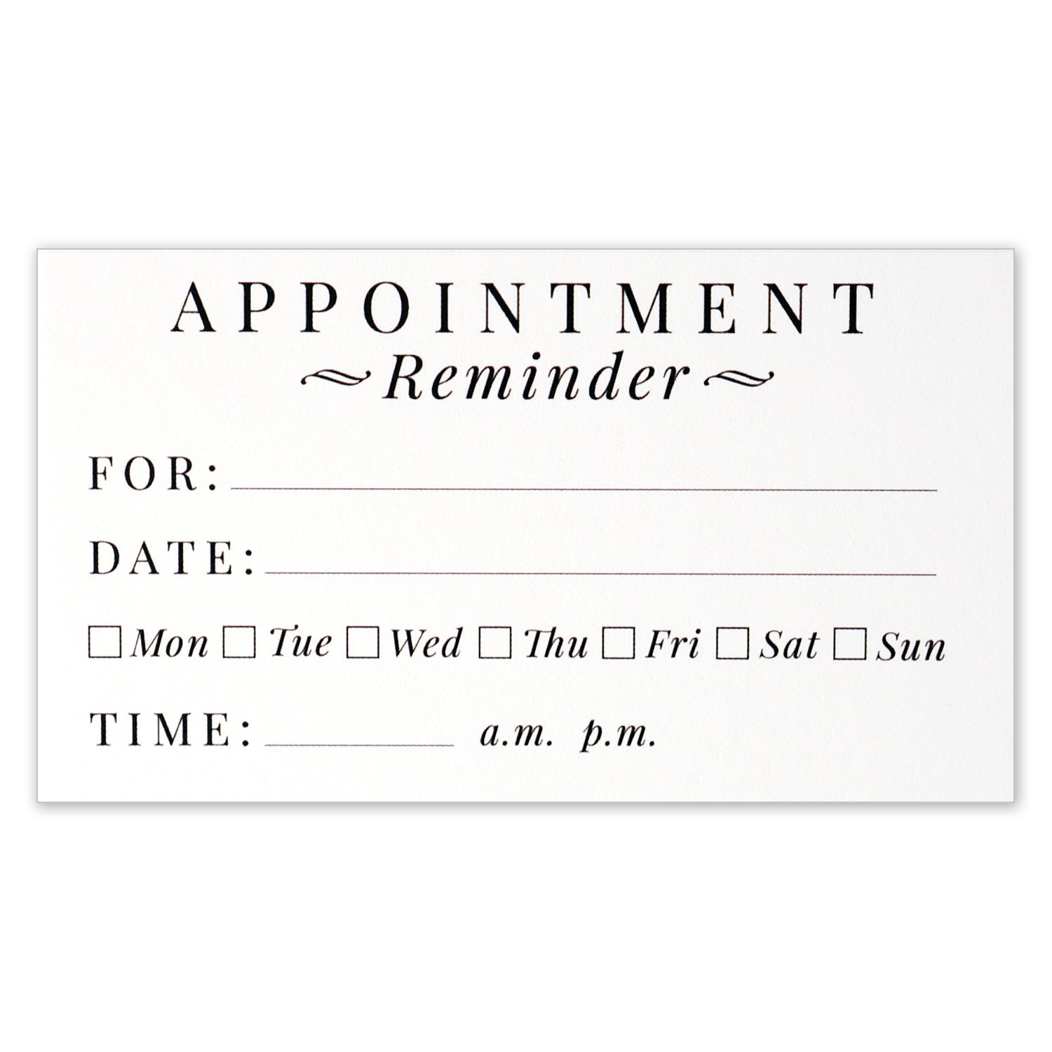 Appointment Reminder Cards - Business Card Size 3.5 X 2 Inches ...