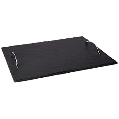 Creative Home 73496 Natural Slate Rectangular Serving Tray with with Zinc Alloy Handles, 9-7/8  L x 13-3/4  W, Black