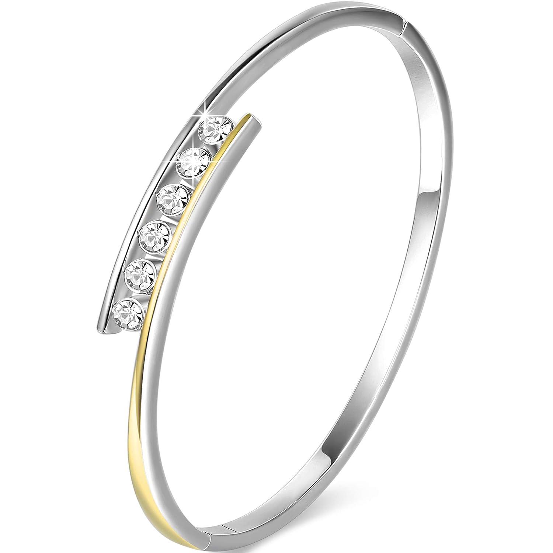Angelady Damen Klassisch Armband in Silber Kristallen von Swarovski| Elegant Armreif Silber Frauen Armband-Geschenk fü r Frauen 90500321188D-uk