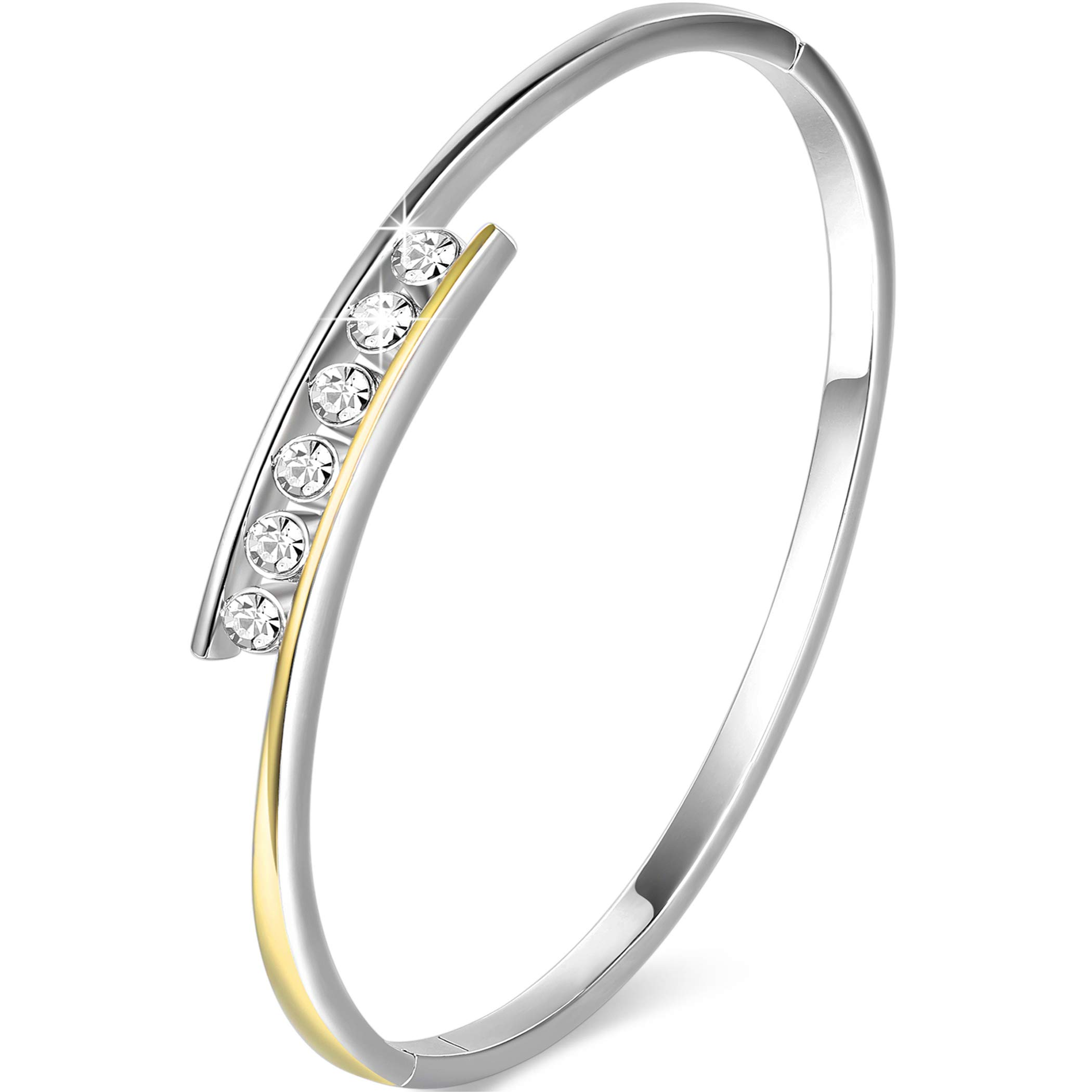 Angelady Classic Silver Bangles Bracelets for Womens Birthday Gifts Jewellery, Crystals from SWAROVSKI