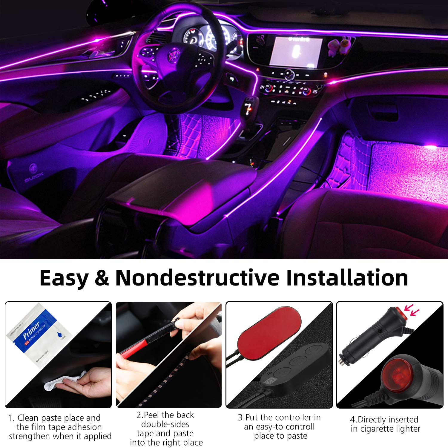 APP Controller LED Interior Car Lights for Cell Phone,Waterproof 4pcs 48 LED Multi DIY RGB Color Music under Dash Car Lighting Kits with Music Sensor,Car Charger,DC 12V S.M Good Car LED Strip Lights
