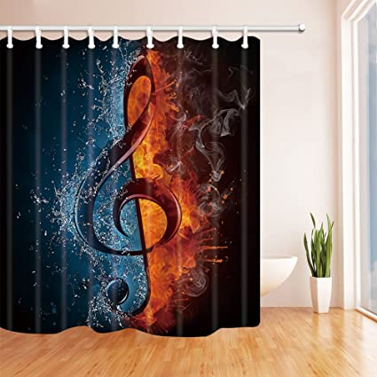 Black Music Theme Water And Fire Musical Notes Pattern Personality Fashion Home 70x70 Inches Sterilization