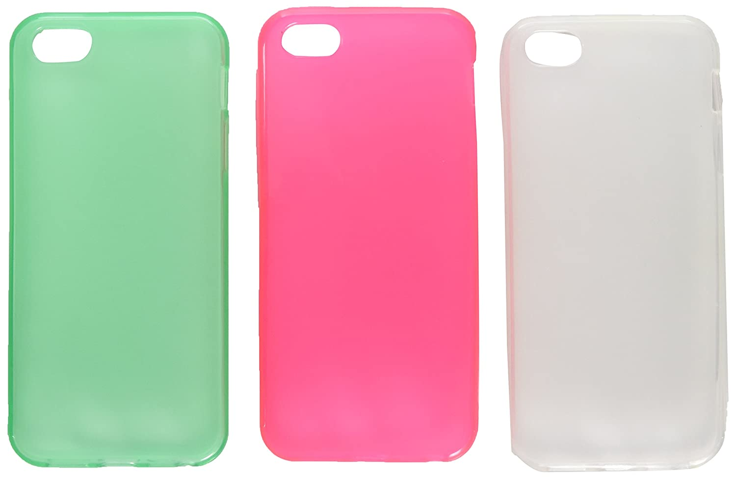 big sale 0b72f f0037 3 Pack TPU Rubber Case Combo Compatible with Apple iPhone 5/5S - Retail  Packaging - Clear Hot Pink /Clear Neon Green