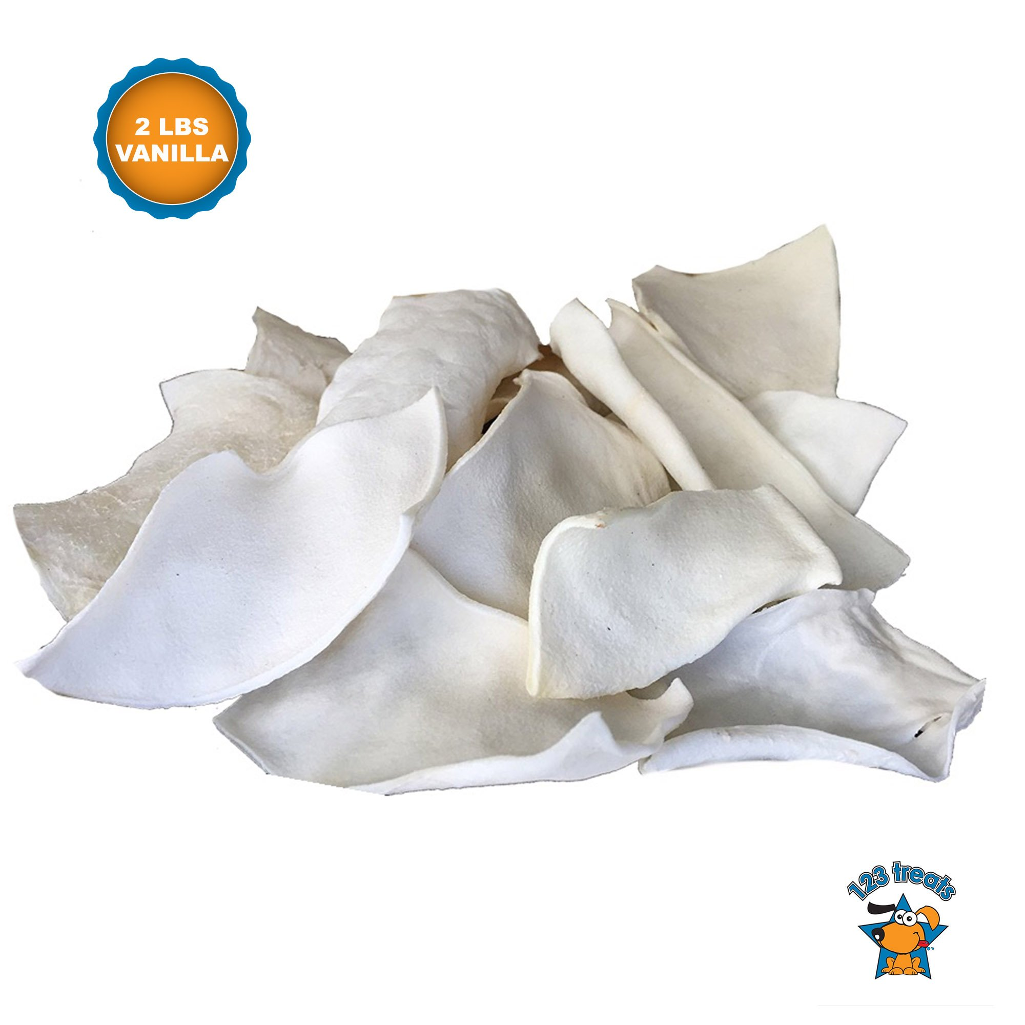 123 Treats | Rawhide Chips Vanilla Flavor (2 Pounds) 100% Natural Rawhide Chews for Dogs