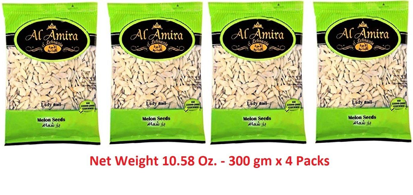 Melon Seeds (Lady Nail) Roasted and Salted Seeds 10.58 Oz./ 300 gm Net weight - ( 4 Packs ) By: Al Amira El Lebnania - بزر شمام سوبر، إنتاج الأميرة اللبنانية