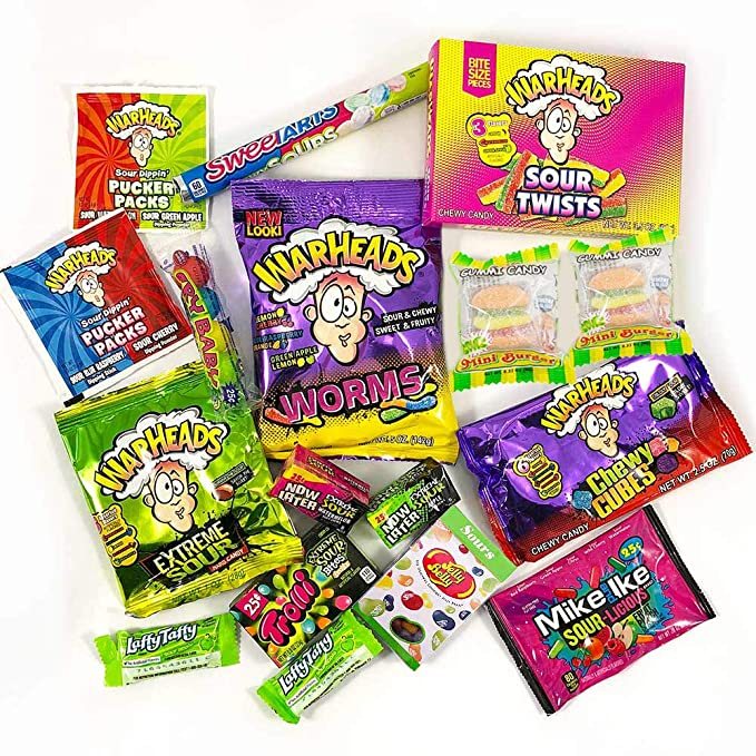 Surtido de Gominolas Ácidas   Selección de Golosinas Americanas Ácidas   Warheads Extreme, Sour Jelly Beans, Bubblegum   Pack de fiesta   17 unidades: ...