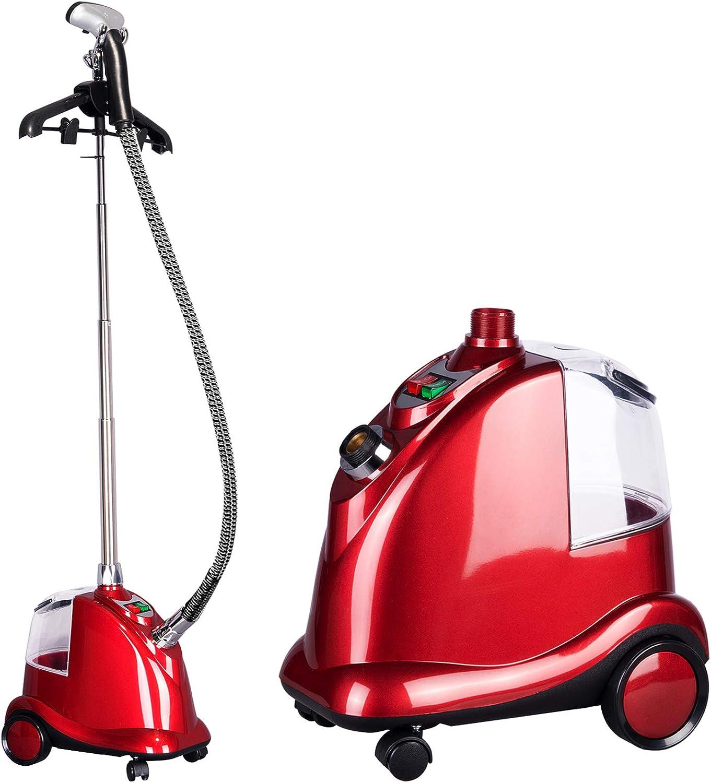 WOLTU Plancha de Vapor Vertical Altura Ajustable Profesional Plancha Ropa Vapor de 2200W, 3L Continuo de Alta Potencia Plástico con Cepillo y Perchas Rojo DG004rt