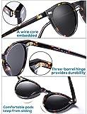 Carfia Vintage Round Polarized Sunglasses for Women UV Protection Acetate Frame CA5288