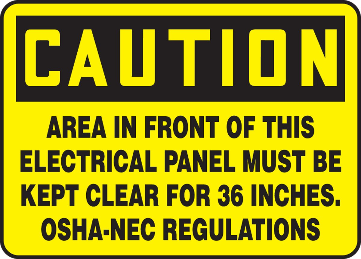 Black on Yellow 10 Length x 14 Width x 0.006 Thickness Accuform MELC625XV Adhesive Dura-Vinyl Sign LegendCAUTION AREA IN FRONT OF THIS ELECTRICAL PANEL MUST BE KEPT CLEAR FOR 36 INCHES