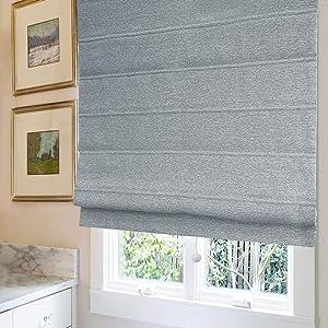 Grneric Cordless Roman Shades Window Shades, Grey Blackout Light Filtering Window Roman Blinds, Custom Linen Cotton Blend Fabric Roman Shades for Windows, French Doors, Doors, Kitchen Windows