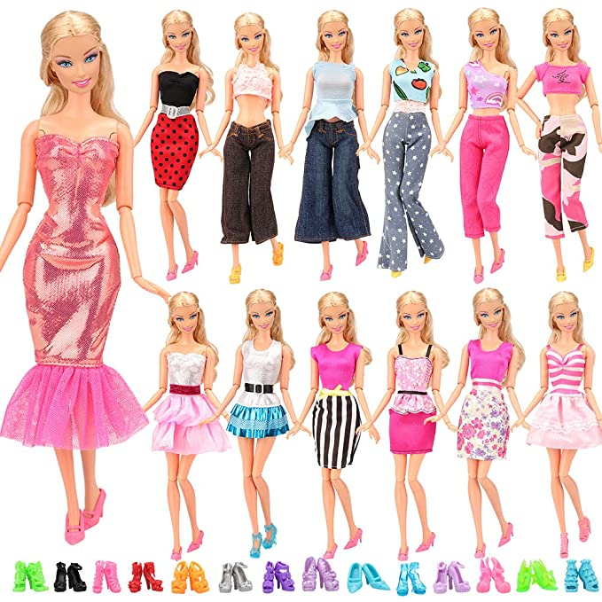 f893434a828d Miunana 15 items   5 Sets Handmade Daily Fashion Causal Clothes Outfits  Bundle with 10 shoes for Barbie Doll Random Stlye Easter Gift  Miunana  ...