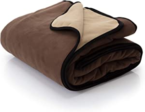 "Waterproof Blanket Cover 80""x90"" for People, Dogs, Cats or Any Pets - 100% Waterproof Furniture or Mattress Protector – Large Size for Twin, Queen, King Beds (Grizzly Brown / Caramel Cappuccino)"