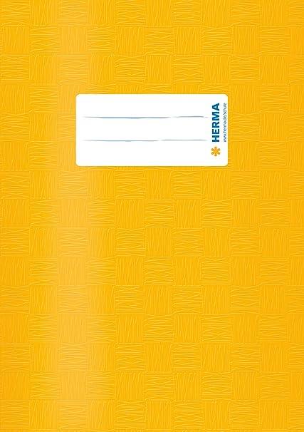 HERMA Heftschoner gelb DIN A4 mit Beschriftungsetikett Heftumschlag Hefthülle
