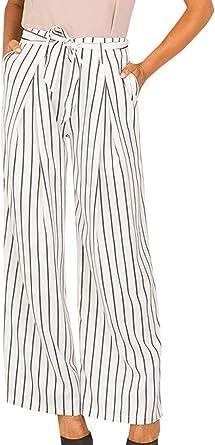 Elegantes Moda Pantalones De Playa Mujer Primavera Verano Rayas Verticales Casuales Mujeres Cintura Alta Con Cinturon Anchos Pantalones Anchos Pantalones Rectos Tendencia Largos Pantalones De Tela Amazon Es Ropa Y Accesorios