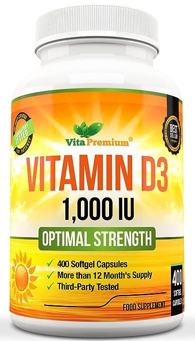 40 opinioni per Vitamina D3, 400 Capsule Morbide (Fornitura per Oltre 1 Anno), Integratore di