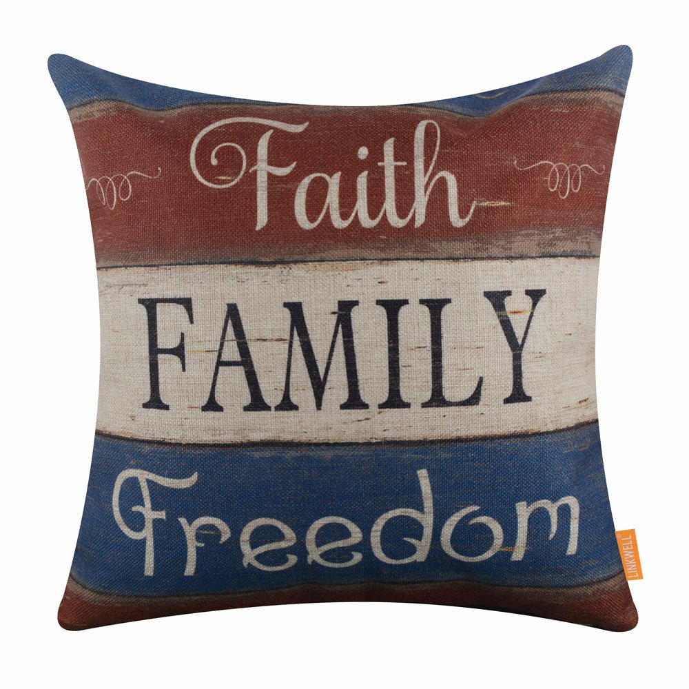 LINKWELL 18''x18'' Independence Day Holiday Faith Family Freedom Burlap Pillow Cover Cushion Cover CC1410
