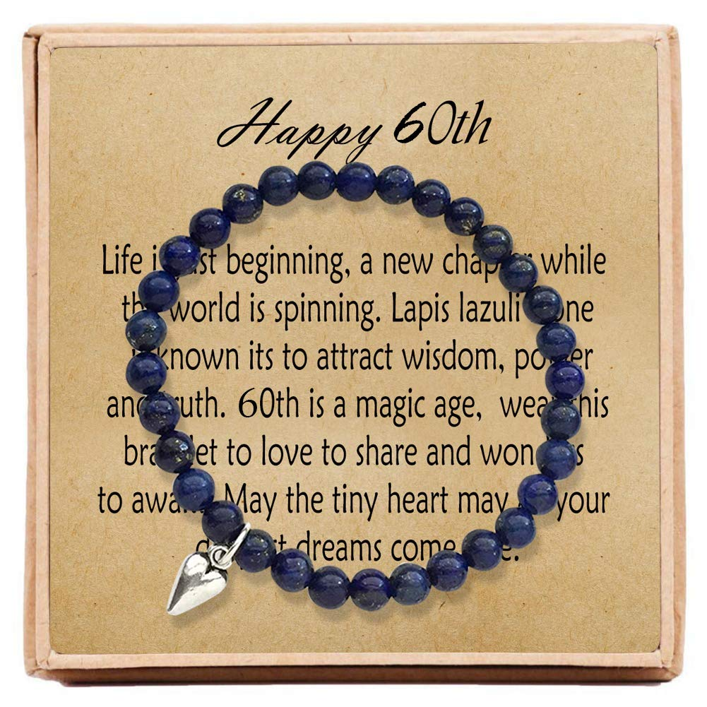 OFGOT7 60th Birthday Gifts for Women Turning 60 - Bead Bracelet with Message Card & Gift Box - Sixtieth by OFGOT7