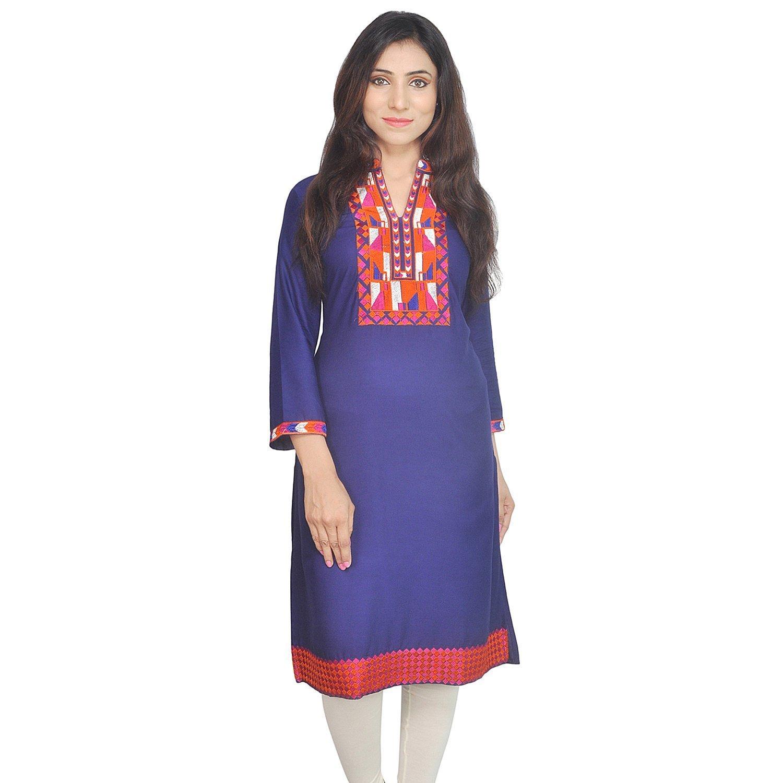 Chichi Indian Women Kurta Kurti 3/4 Sleeve Small Size Plain with Jaipuri Embroidered Straight Royal Blue Top