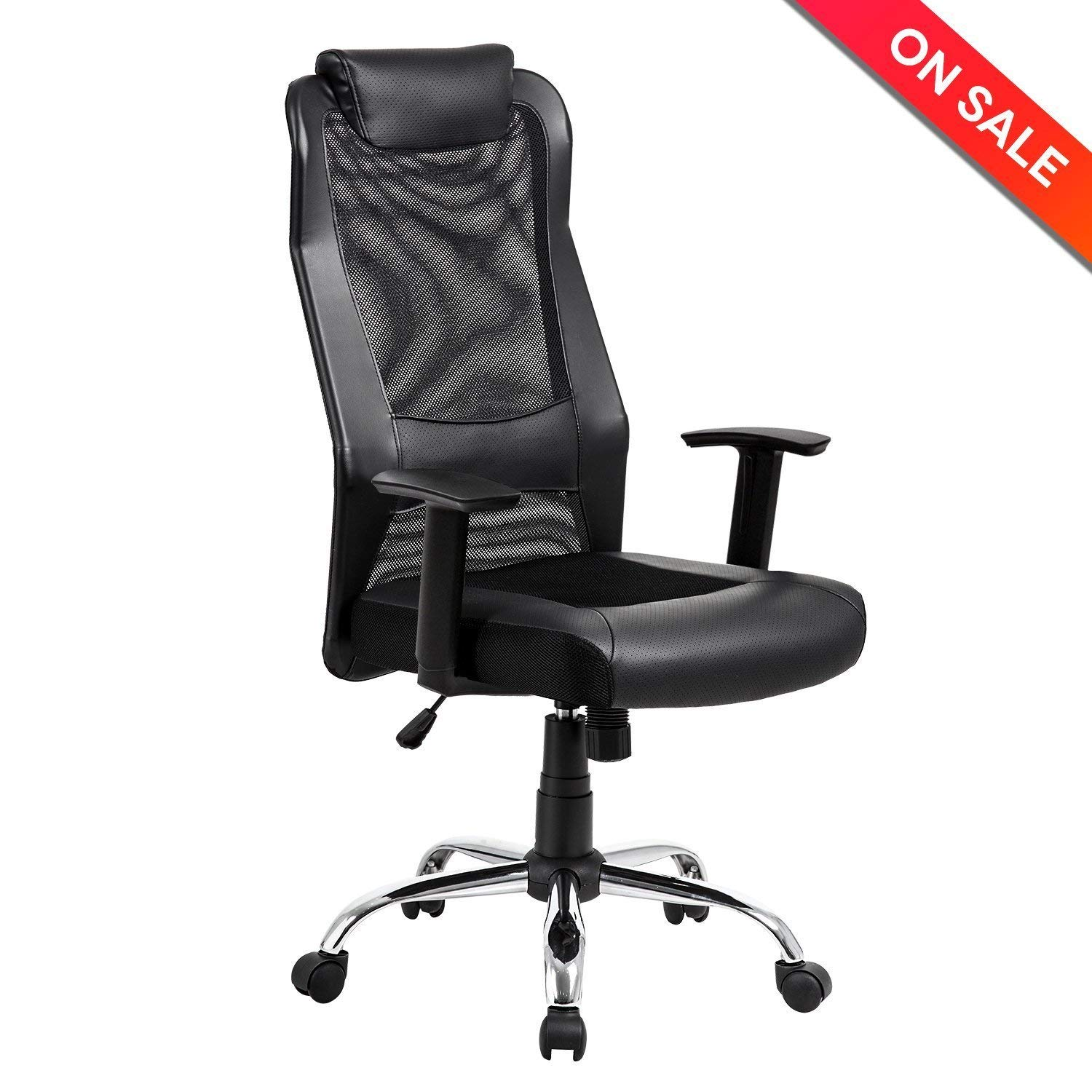 Fabulous Kadirya Mesh Office Chair High Back Pu Leather Home Computer Desk Chair Executive Ergonomic Swivel Chair Padded Headrest Lumbar Support Adjustable Home Interior And Landscaping Transignezvosmurscom