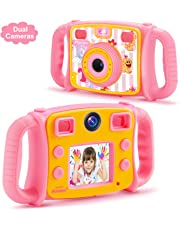 DROGRACE Kids Camera Dual Selfie Cameras 1080P HD Digital Video Camera Gift for Boys Girls Birthday Holidays with 4X Zoom, Flash, Built-in Microphone, Speaker and Drop-Resistant Handles – Pink