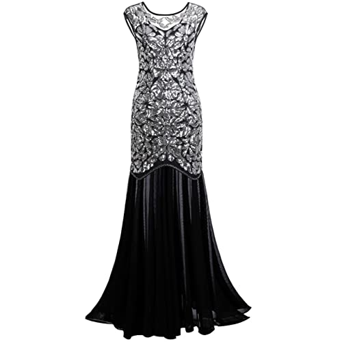 kayamiya Womens 1920s Gown Beaded Sequined Maxi Long Gatsby Mermaid Evening Dress