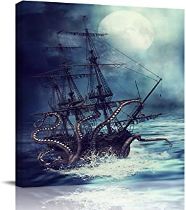 Square Canvas Wall Art Oil Painting for Bedroom Bathroom Living Room Home Decor,Kraken Octopus Monster Pirate Ship Artworks for Hotel Office Salon,Stretched by Wooden Frame,Ready to Hang,12x12in