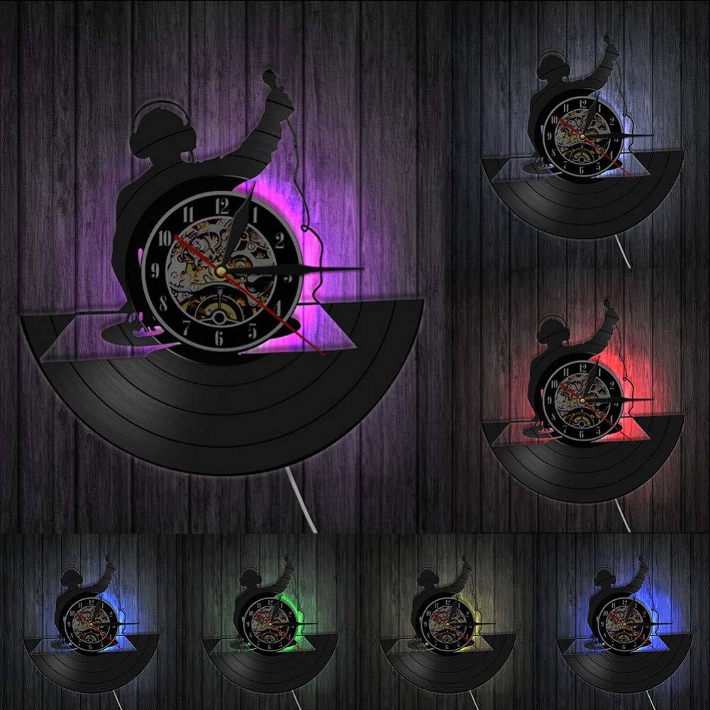 SSCLOCK Tocadiscos DJ Wall Art Reloj de Pared DJ Your Name Vinyl ...
