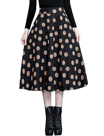 c5431c3bfc79 Tanming Women s A-Line Printed Wool Blend Midi Skirt at Amazon ...