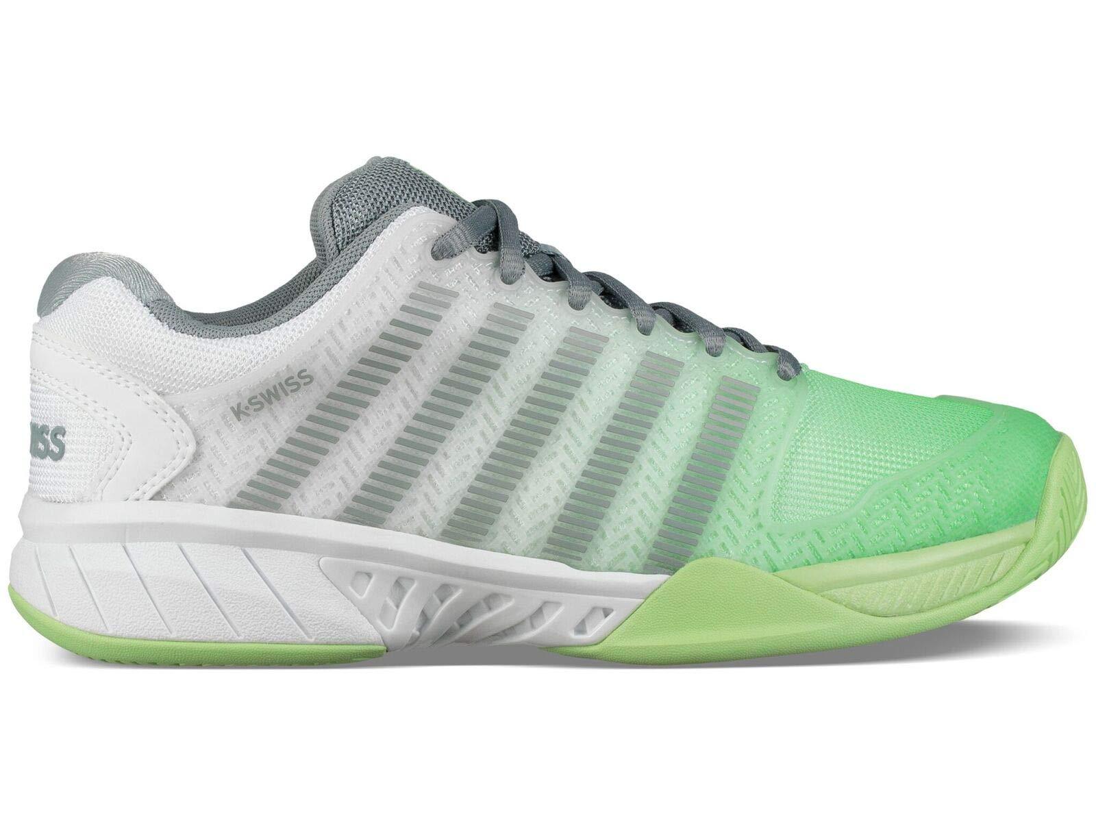 K-Swiss Women's Hypercourt Express Tennis Shoe (White/Paradise Green/Abyss, 9.5 M US)