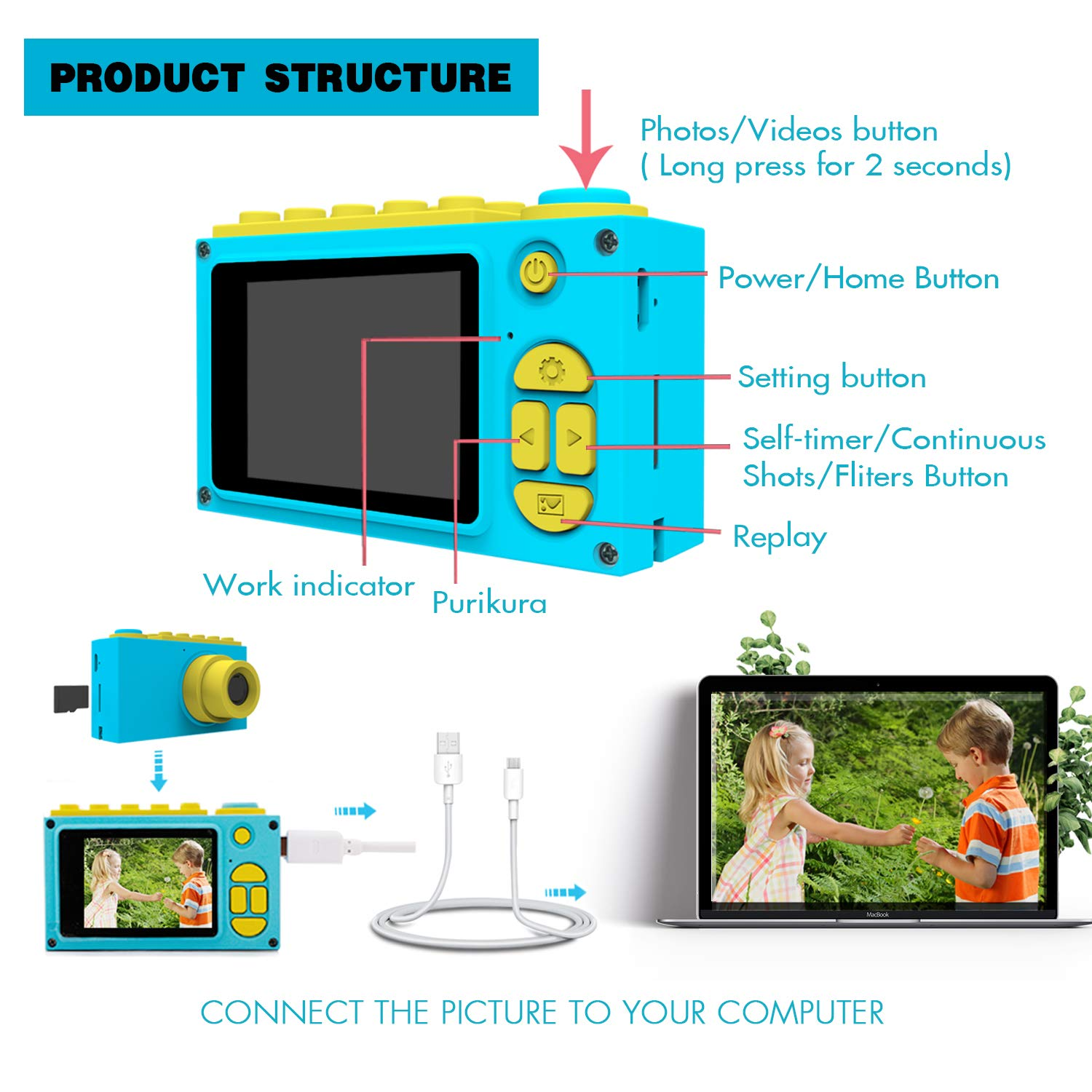 BlueFire Kids Digital Camera, Mini 2 Inch Screen Children's Camera, 8MP HD Child Camcorder, Best Digital Camera for Boys and Girls (Blue) by BlueFire (Image #5)