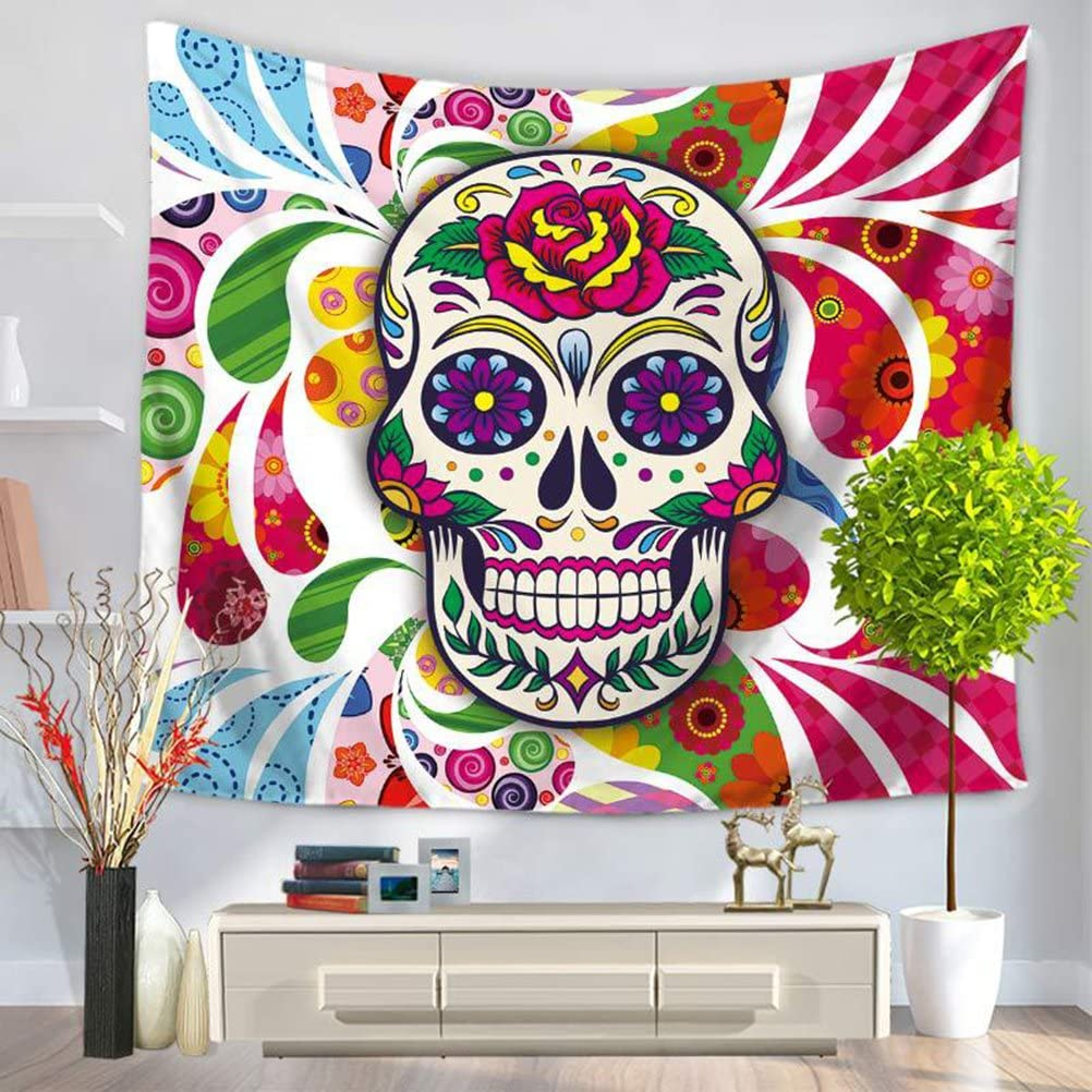 LANGUGU Sugar Skull Decor Tapestry,Colorful Pattern with Skull Headdress Ornament Portrait Wild Watercolor Effect,59 W X 51 L Inches?Wall Hanging for Bedroom Living Room Dorm