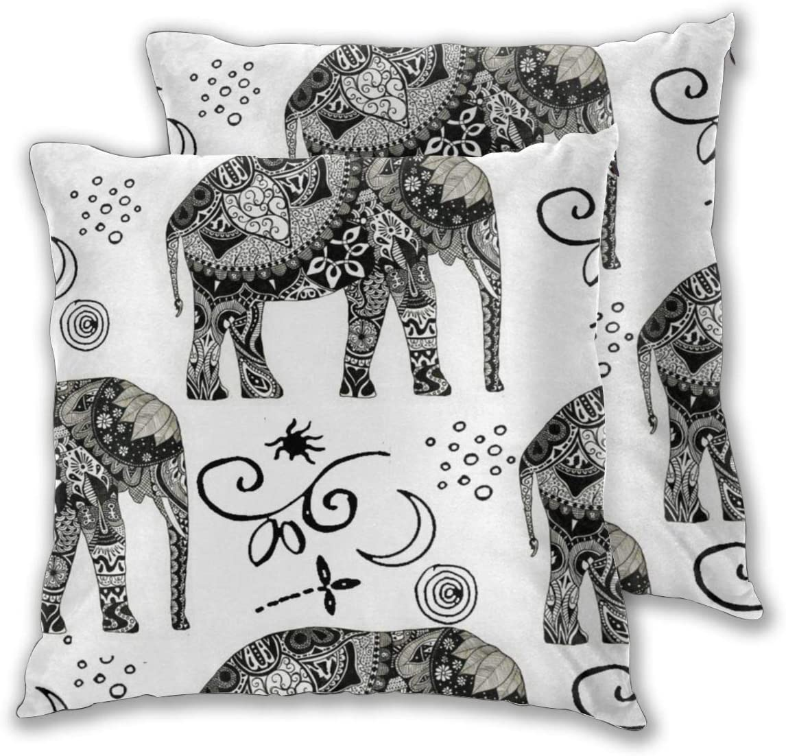 MOONLIT DECAYED Bohemian Elephant Boho White 2PCS Square Printed 20 X 20 inches Decorative Throw Pillows Covers Square Cushion Cases for Sofa Chair Car Bench Bed Office Bar Indoor Outdoor Home Party