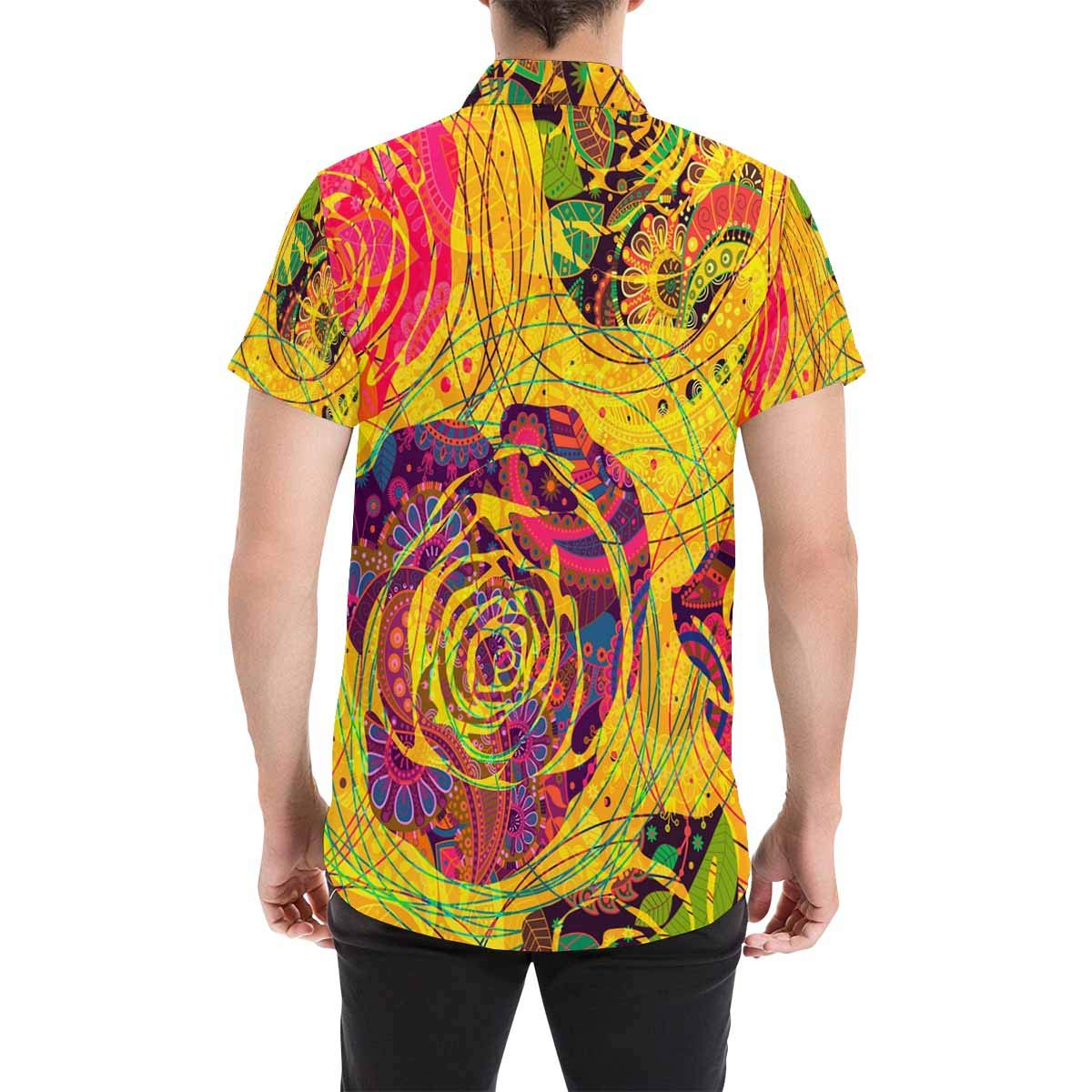 InterestPrint Button Down Shirts Colorful Flowers Printed Button Down Short Sleeve Shirts