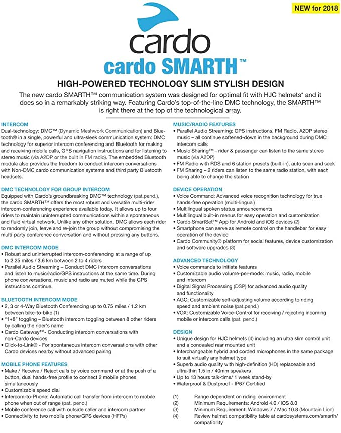 Amazon com: Cardo Systems SCALA RIDER SMARTH - Helmet Bluetooth BT