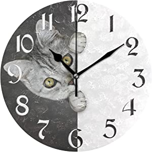 Naanle Funny Cat Round Wall Clock Black and White Silent Non Ticking Wall Clocks Battery Operated for Home Office School Decor
