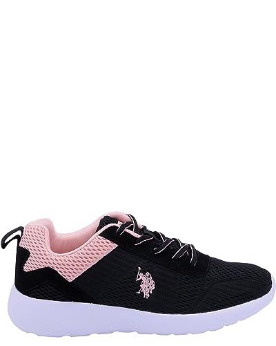 U.S. Polo Assn. Tenis con Cordones para Mujer, Color Negro y Rojo ...