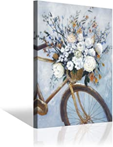 Flowers & Bike Painting Wall Art: Floral Bouquet on Bicycle Picture Hand-Painted Artwork on Canvas for Living Room (24'' x 18'' x 1 Panel)