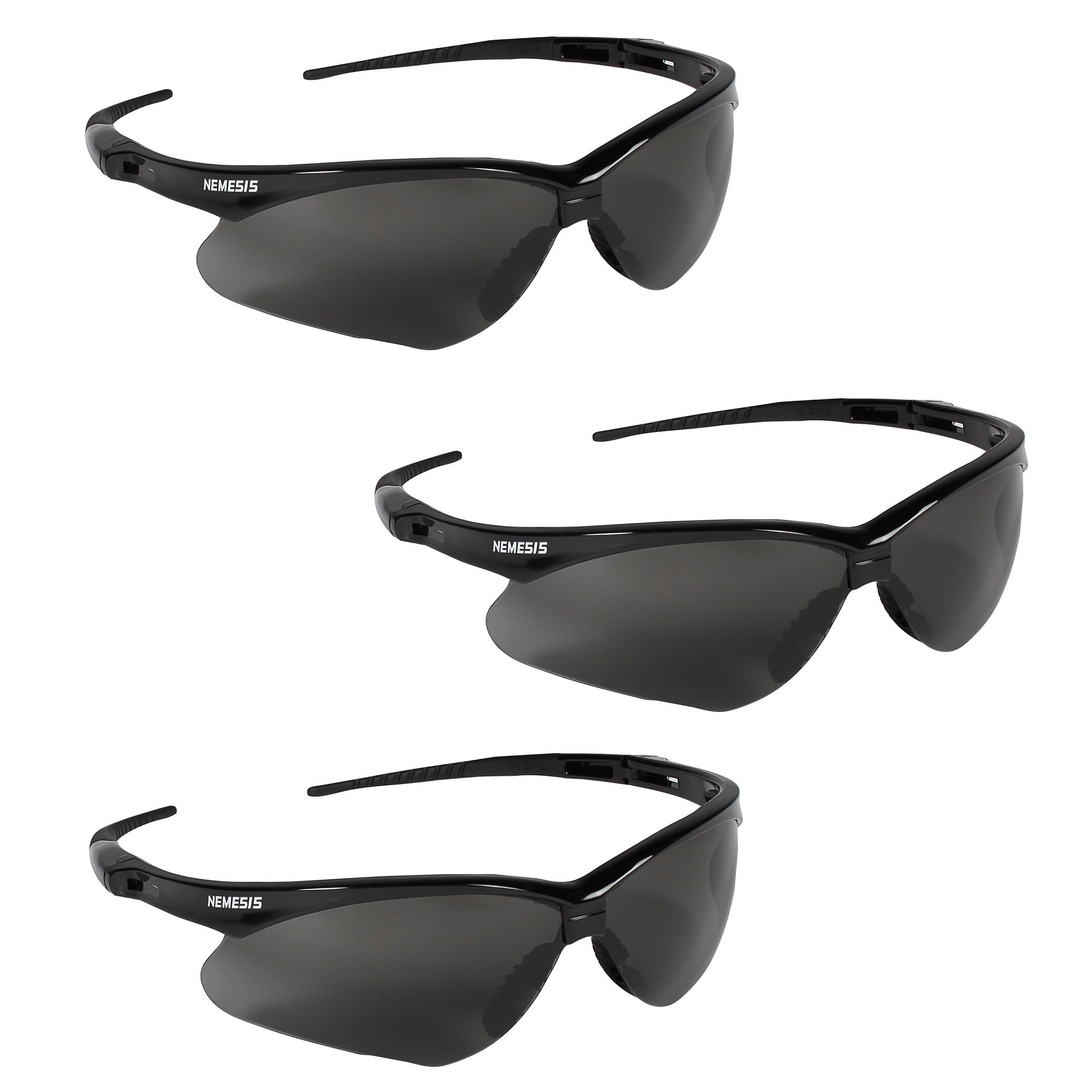 Jackson Safety V30 22475 Nemesis Safety Glasses 3020121 (3 Pair) (Black Frame with Smoke Anti-Fog Lens)