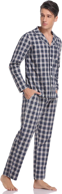 Hawiton Mens Plaid Button Front Cotton Pajamas Set Long Sleeve Woven Top /& Pant Sleepwear PJ