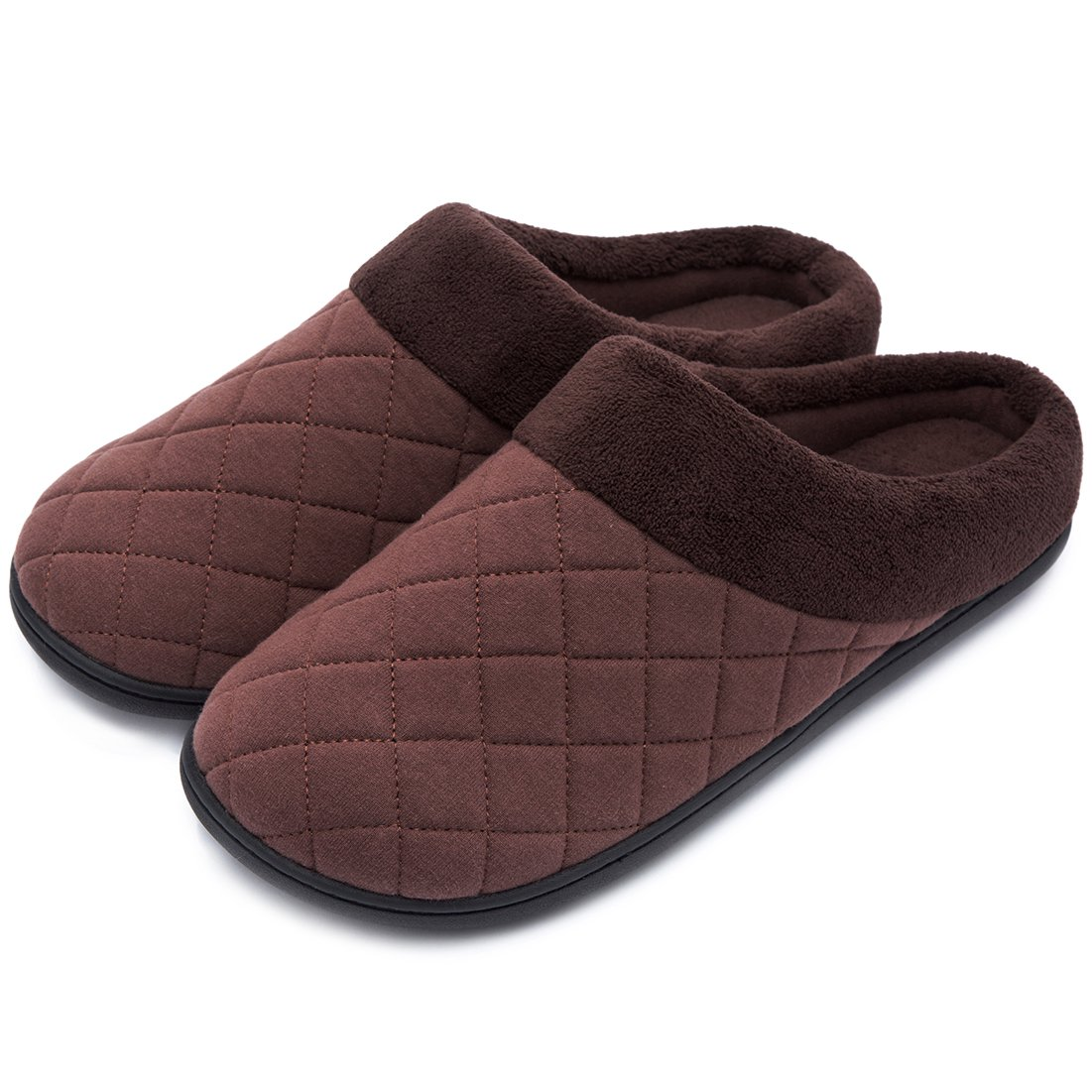 Men's Comfort Quilted Memory Foam Fleece Lining House Slippers Slip On Clog House Shoes (Large / 11-12 D(M) US, Coffee)