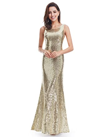 Ever Pretty Womens Sleeveless Long Sequins Evening Gown 4 US Gold