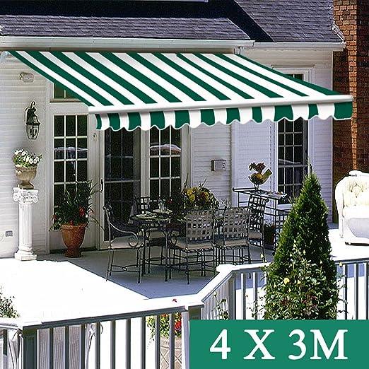 Greenbay Toldo de patio manual, color verde, blanco, retráctil ...