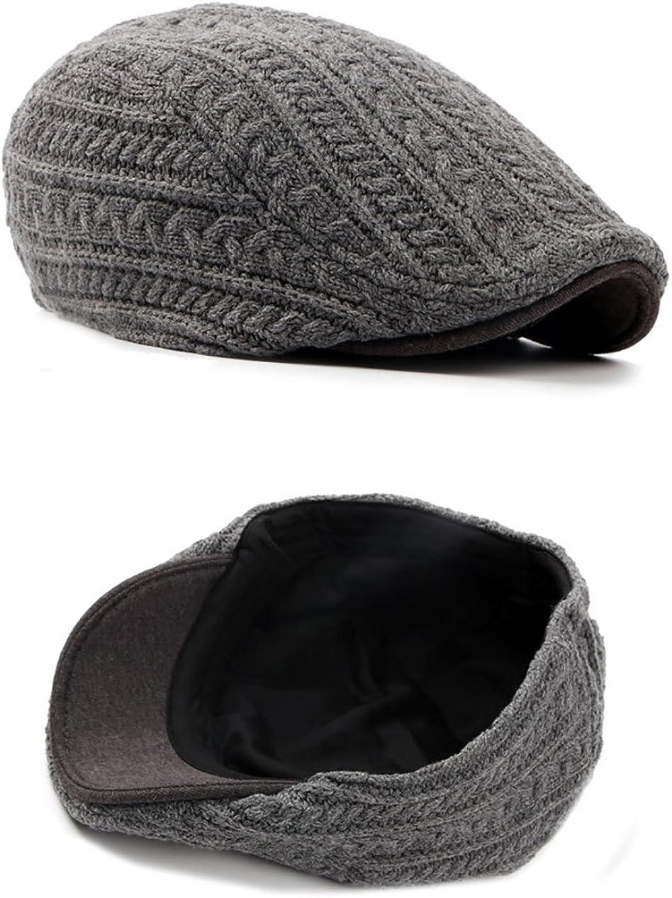 Vikenner Mens Wool Flat Duckbill Hat Knitted Warm Newsboy Ivy Cabbie Drving Hat