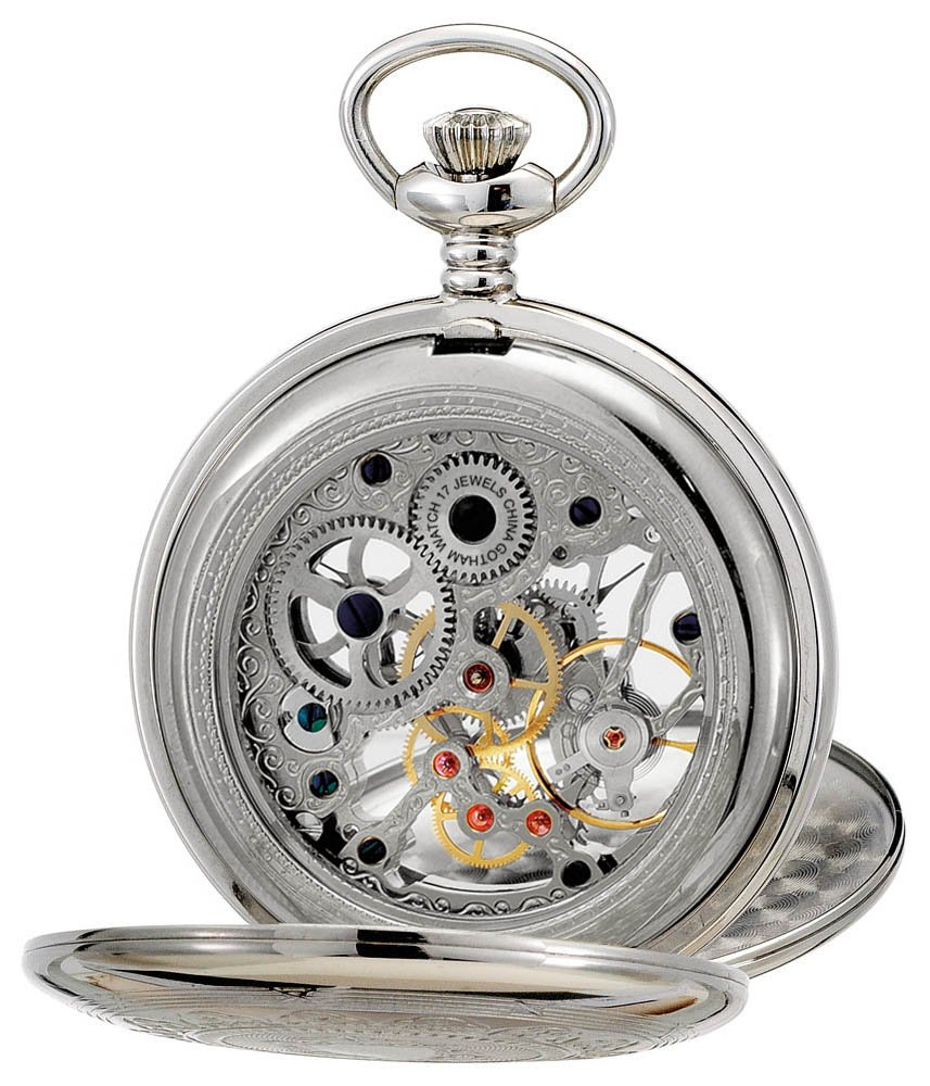 Gotham Men's Silver-Tone Mechanical Pocket Watch with Desktop Stand # GWC18800S-ST by Gotham (Image #3)