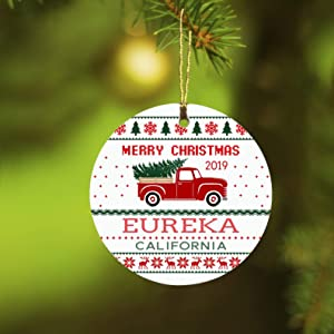 Christmas Tree Ornament Decorations Merry Christmas 2019 Eureka California Ugly Holiday Party Xmas Ornament Decoration Family Gifts Rustic Unique Home Sweet Home Ceramic 3""