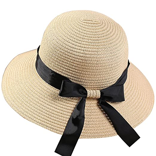 Amazon.com  FAVOLOOK Women Summer Anti - UV Beach Cap with Bow Tie Elegant  Boater Hats Sunscreen Female Caps  Clothing 2af02094164