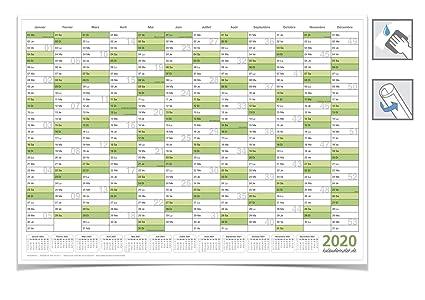 Calendrier De Vacances 2020.Calendrier Mural Calendrier Annuel 2020 Din A2 59 4 X 42 0 Cm Avec Informations Vacances Vert Roules