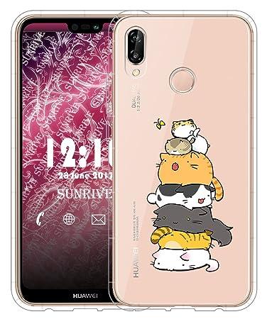 Sunrive Für Huawei P20 Lite Hülle Silikon, Transparent Handyhülle Schutzhülle Etui Case für Huawei P20 Lite(TPU Katze 3)+Grat