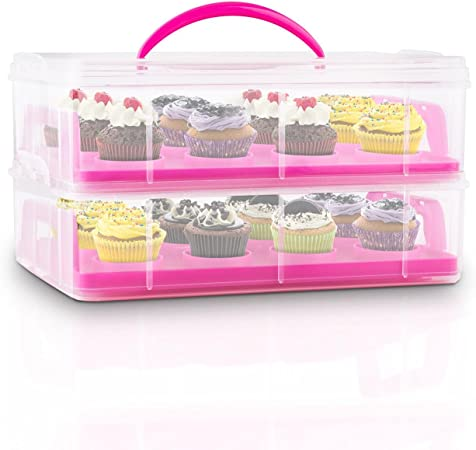 Klarstein USS Pink Cookie Recipiente para Transportar Dulces (2 Pisos almacen Alimentos, 2 bandejas extraibles, Capacidad 24 Cup Cakes, Adecuado Transporte reposteria, Cierres en Clip, asa, Rosa): Amazon.es: Electrónica