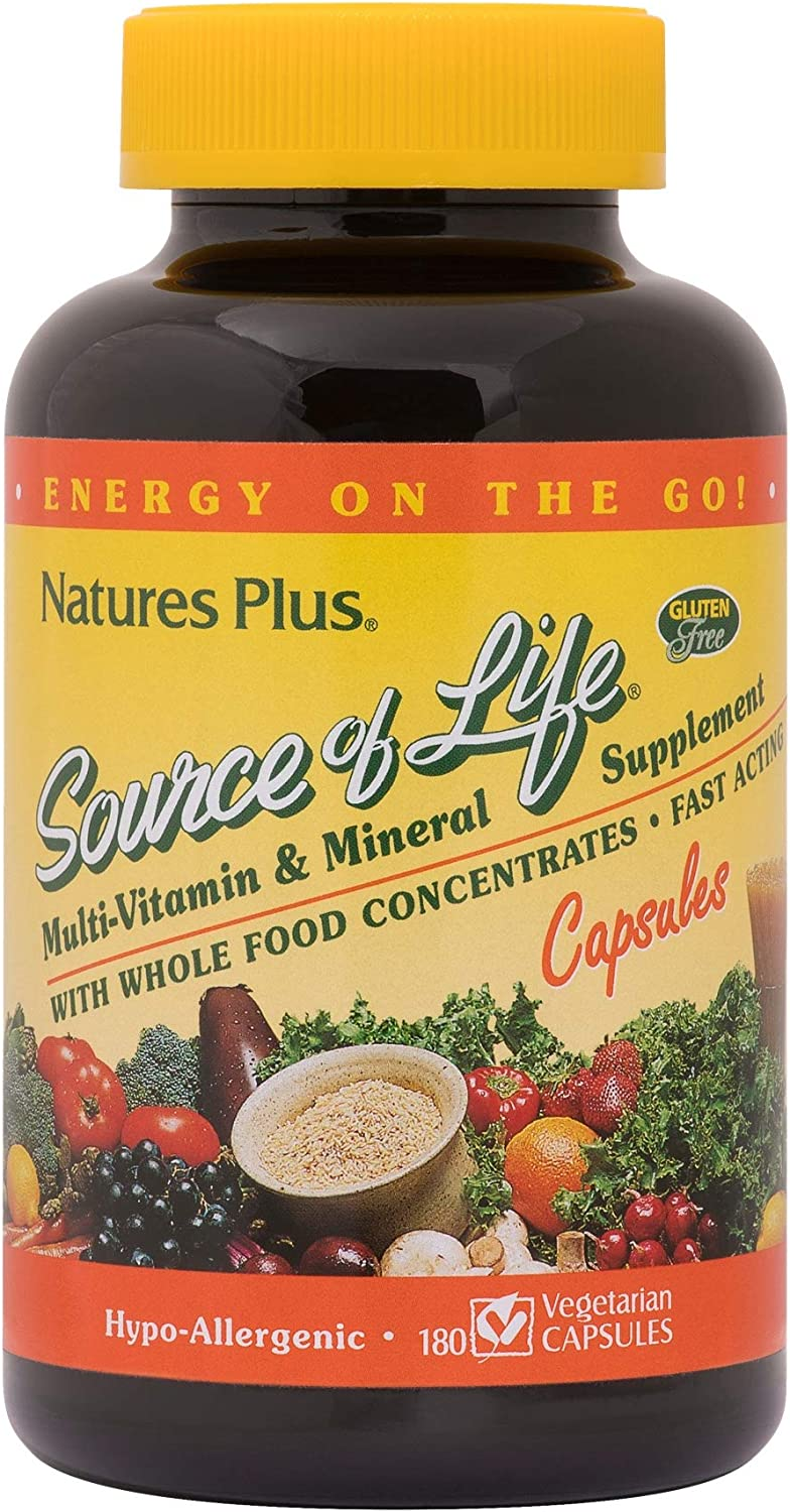 NaturesPlus Source of Life Multivitamin - 180 Vegetarian Capsules - Whole Food Multivitamin & Mineral Supplement - Supports General Health, Energy Booster - Gluten-Free - 20 Servings